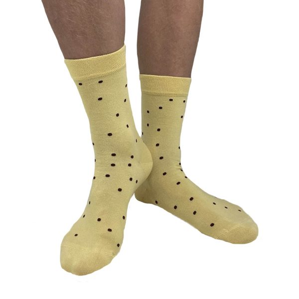 Yellow socks with brown dots from Tag Socks